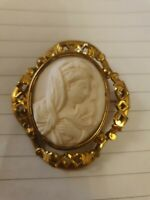 Antique rolled gold cameo brooch, classical themed image of Madonna .