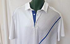 Tek Gear White Dri Tek Striped Golf Polo Short Sleeve Mens Shirt 2Xl. Q92