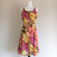 Vintage BILA Pink Floral Watercolor Fit and Flare Dress Womens Size Medium