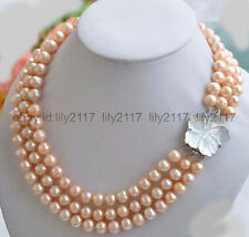 "17-19"" Genuine 3 Rows 9-10mm Natural  Pink Fresh water Pearl Necklace"