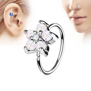 1pc Opal Glitter Flower Hoop Nose / Cartilage Ring Rook Daith Helix Tragus