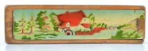 Vintage wood school pencil nostalgic box painted water mill landscape
