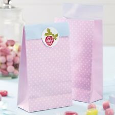 5 x Vintage Rose Party Bags - Pink Shabby Chic Floral Garden Tea Party
