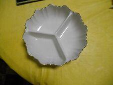 Lenox Long 3-Part Symphony Condiment Dish Sculptured Shape 14K Gold Trim
