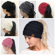 Women's Girl Stretch Knit Hat Messy Bun Ponytail Beanie Holey Warm Hats Winter