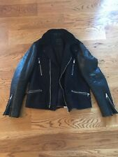 All Saints Men's wool leather sherpa biker jacket coat Size L