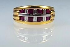 New Ruby & Diamond channel set 18k yellow gold ring with AAA+ Rubies & diamonds