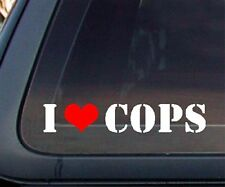 I Love COPS w/ Red Heart Car Decal / Sticker - White & Red (502)