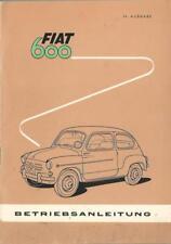 FIAT 600 CABRIO Betriebsanleitung 1962 Bedienungsanleitung Handbuch Bordbuch BA
