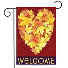 "Leaf Heart Fall Garden Flag Autumn Welcome Seasonal Yard Banner 12.5"" x 18"""