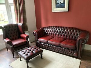 Chesterfield 3 Seater +1 Queen Anne Chair+Footstool Leather Sofa Oxblood Red