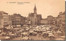 CPA - Charlerois - Place de la ville base - Le marché
