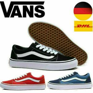 Herren DamenVans Old Skool Schwarz Weiß Sneaker Unisex Skate schuhe EU36 - 44