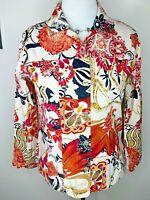 Womens Chico's Size 1 S M Pink Orange Black Embellished Long Sleeve Top Jacket
