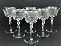 VINTAGE SET OF 6 ETCHED FLORAL ELEGANT CHAMPAGNE GLASSES CLEAR