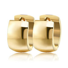 Elegant Women 7mm Stainless Steel Hoop Huggie Loop Earrings Silver Gold Jewelry
