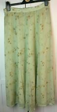 retro Maxi Long SKIRT - Size 12 14 - Green floral - Light -Mansfield clothes - C