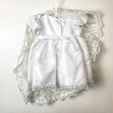 White Satin Lacey Baptism Dressy Formal Semi Formal Gown Girls Dress 6-9 Months