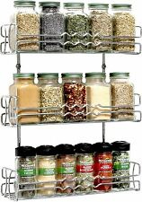 Kitchen 3 Tier Wall Mounted Spice Rack, Chrome