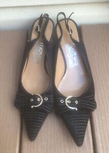 Salvatore Ferragamo 8.5M Black Slingback Kitten Heel Suede