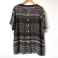 VINTAGE 90s Brown Black Floral Batik Crinkle Button Up Shirt Size 16/18/20 Plus