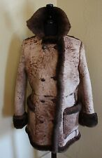Shearling Suede Lambs Wool Ranch Leather Brown Fur Women S/M Coat Jacket Vtg