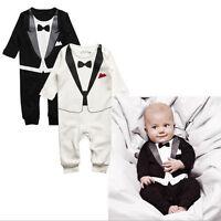 nouveau-né garçon bébé habillé Costume Smoking Barboteuse Pantalons tunique