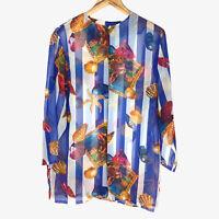 Vintage 90s Womens Button Shirt Striped Pattern Top Loud Starfish Shells Chiffon