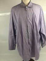 Michael Kors Purple Striped Luxe Cotton Button Down Shirt Mens Size 19 34/35