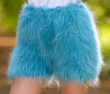 TEAL GREEN Hand Knitted Mohair Underwear Fuzzy Pants Fuzzy Soft Handmade Shorts