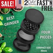4 PC Tobacco Herb Grinder Metal Crusher Hand Crank Spice Mill Herbal Black