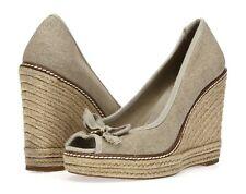 TORY BURCH Womens Beige Synthetic Slip On Open Toe Wedges Heels Size 9.5 B