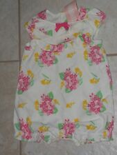 "NWT - Gymboree ""Spring Dressy"" white & pink flowered shorts romper - 0-3 mos"