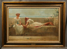 "Unsigned Victorian Stlye Oil Painting of Two Women titled ""Confidante"""