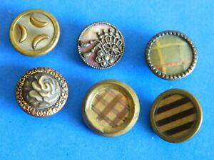 LOT Antique Vtg Victorian Celluloid in Brass Metal Buttons MOONS-FLOWER-Design U