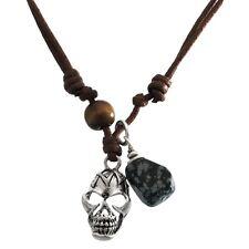 Tribal Skull & Stone Pendant Cord Necklace