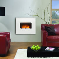WALL MOUNTED FIREPLACE FLICKER FLAME ELECTRIC HEATER WHITE MDF LIVING ROOM FIRE