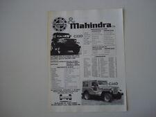 advertising Pubblicità 1987 MAHINDRA CJ3D - CJ4 D