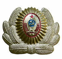 Soviet USSR Russian Army Military Police Hat Cap Uniform Beret Metal Pin Badge
