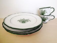 "3 Grazia Deruta Green 11"" Dinner Plates and 2 tea cups Italy Charleston Gardens"