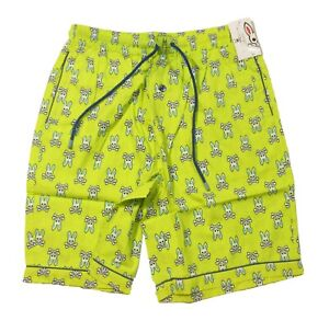 Psycho Bunny Men's Limelight Green All Over Bunny Woven Jam Lounge Shorts