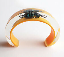 Yellow cuff lucite bracelet with real bug by Kolos Designs