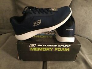 BRAND NEW SKECHERS TRAINERS SZ 7 NAVY MESH MEMORY FOAM CLASSIC SHOES GYM CASUAL