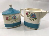 Vintage Hand Painted Service Creamer Sugar Lid Fine Stoneware Blue Lagoon Japan