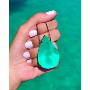 INCREDIBLE NEON GREEN LARGE 150CT COLOMBIAN EMERALD PEAR NECKLACE PENDANT LUXURY