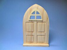 UNFINISHED WOOD ARCH DOOR WITH WINDOW MINIATURE FOR FAIRY GARDEN