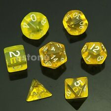 Yellow 7 Sided Die D4 D6 D8 D10 D12 D20 DUNGEONS&DRAGONS D&D RPG Dice Game Set