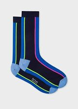 Paul Smith Mens English Socks Vertcial Block Navy & Blue K120 One Size CottonMix