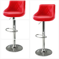 Set of 2 Bar Stools Pub Chair Counter Height PU Leather 360° Swivel Dining Chair