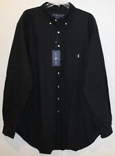Polo Ralph Lauren Big and Tall Mens Black Classic Button-Front Shirt NWT LT